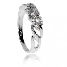 Stříbrný prsten se zirkony (kubická zirkonie) řetízkový motiv