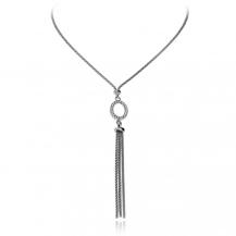 Stříbrný náhrdelník se zirkony (cubic zirconia) ovál s visacími řetízky