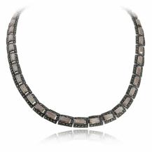Stříbrný náhrdelník s markazity a růžovou perletí - obdélníky