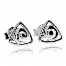 Stříbrné náušnice - Trojúhelník a spirála