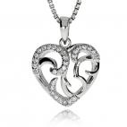 Stříbrný přívesek se zirkony (cubic zirconia) ve tvaru srdce s povrchovou úpravou rhodiovaného stříbra