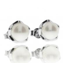 Stříbrné bodové náušnice s perlou (říční perla)