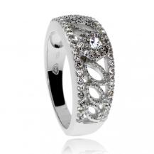 Stříbrný prsten se zirkony (cubic zirconia), širší zdobený kroužek