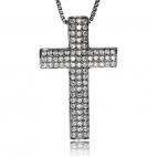 Stříbrný přívěsek se zirkony (cubic zirconia) - Třpytivý kříž