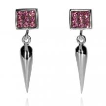 Stříbrné náušnice visací s krystaly Swarovski růžové