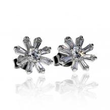 Stříbrné náušnice se zirkony (cubic zirkonia) - Květy