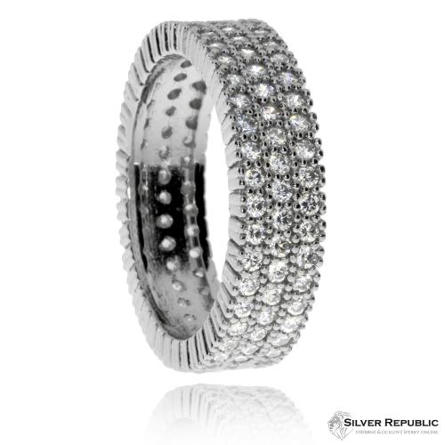 Stříbrný prsten se zirkony (kubická zirkonie) ve třech řadách