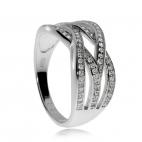 Stříbrný prsten se zirkony (cubic zirconia), čtyři propletené linie