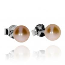 Stříbrné náušnice s perlou (říční perla), bodové