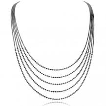 Stříbrný náhrdelník - Více řad zdobených kuličkami