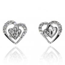 Stříbrné náušnice se zirkony (cubic zirconia) originální srdce