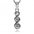 Stříbrný přívěsek se zirkony (kubická zirkonie) tři kulaté kameny