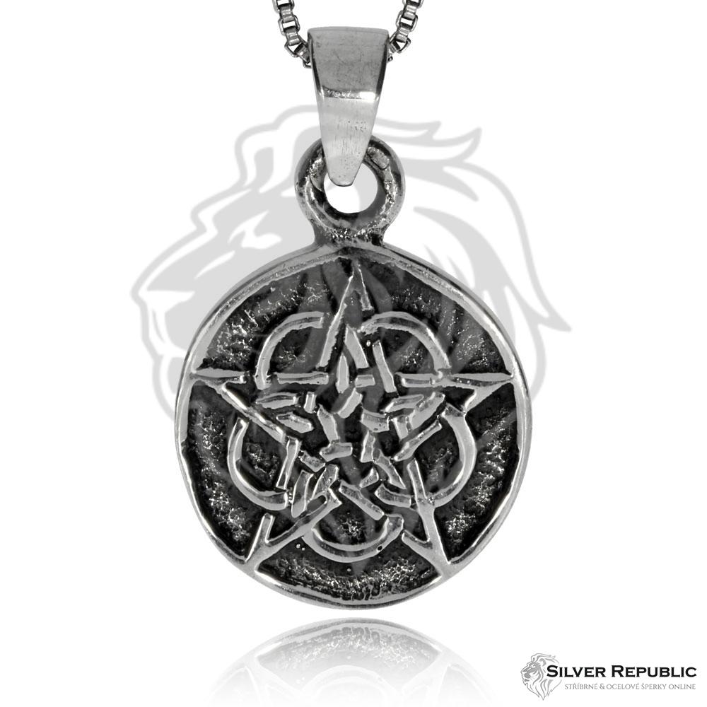 Stříbrný přívěsek - Růžový pentagram - SilverRepublic.cz dbcbe0a4261