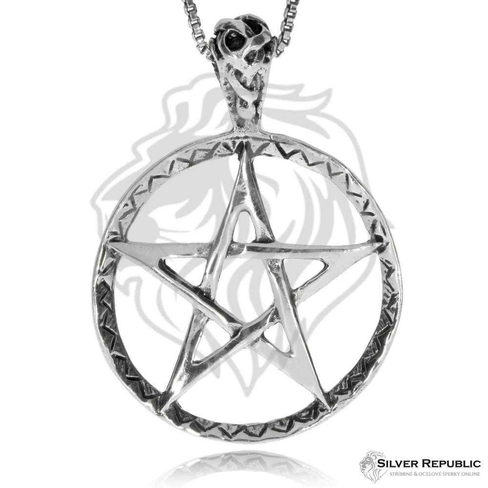 Stříbrný přívěsek - Pentagram v kruhu - SilverRepublic.cz cad6921670d