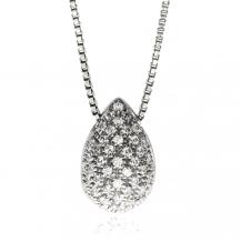 Stříbrný náhrdelník ve tvaru kapky osázený diamanty