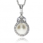 Stříbrný přívěsek s říční perlou a zirkony (cubic zirconia) - Třpytivý kruh