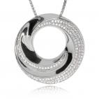 Stříbrný přívěsek se zirkony (cubic zirconia) - Kulatý