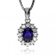 Stříbrný přívěsek se zirkony (cubic zirconia), fialový ovál osázený čirými kameny
