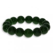 Náramek z přírodních polodrahokamů - kulatě zpracovaný jadeit