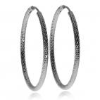 Stříbrné náušnice kruhy s broušeným povrchem - 3,47 cm