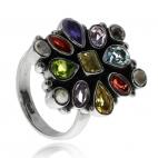 Stříbrný prsten s přírodními polodrahokamy