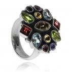 Stříbrný prsten s polodrahokamy v bohaté kombinaci