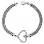 Stříbrný náramek se zirkony (cubic zirconia) třpytivé srdce