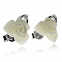 Stříbrné náušnice s perletí ve tvaru růže