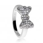 Stříbrný prsten se zirkony (cubic zirconia) třpytivá mašle