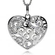Stříbrný přívěsek se zirkony (cubic zirkonia) srdce s třpytivým motivem