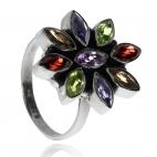 Stříbrný prsten s polodrahokamy - Květ