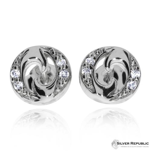 Stříbrná sada se zirkony (cubic zirconia) - Ozdobený kruh