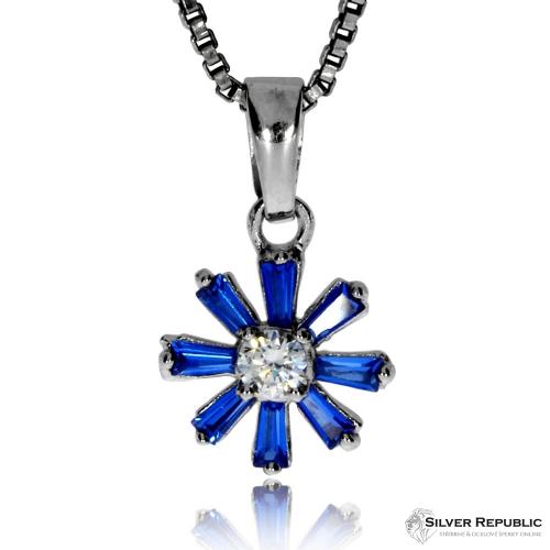Stříbrná sada se zirkony (cubic zirconia) - Modrý květ