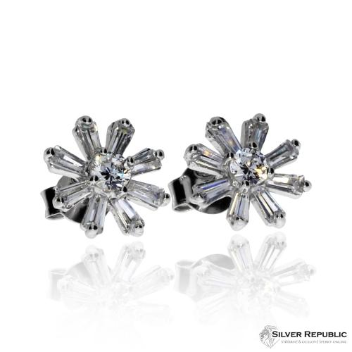 Stříbrná sada se zirkony (cubic zirconia) - Třpytivý květ