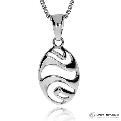 Stříbrná sada - Ovál s vlnkami