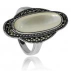Stříbrná sada - Ovál s perletí a markazity