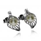 Stříbrná sada šperků s perlami (říční perla) a zirkony (cubic zirconia) - Tvar lístku