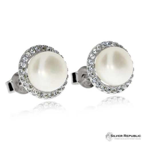 Stříbrná sada s perlou v kruhu