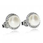 Stříbrné náušnice s perlou říční a zirkony (cubic zirconia), zdobný kruh