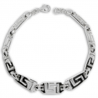 Stříbrný náramek s řeckým vzorem - zvětšující se díly