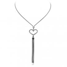 Stříbrný náhrdelník se zirkony (cubic zirconia) - srdce