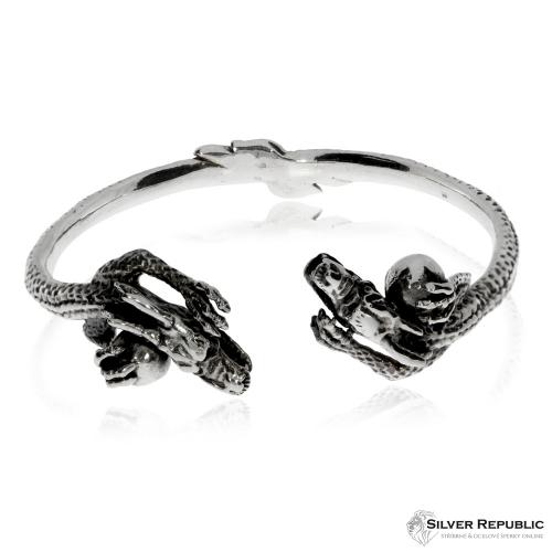 Stříbrný náramek - Dvojice dračích hlav