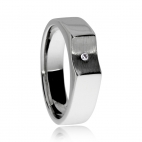 Stříbrný prsten s diamantem v povrchu rhodiovaného matného a lesklého stříbra