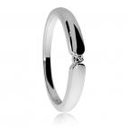 Stříbrný prsten s diamantem o průměru 2 mm, SI1/G, 0,03 ct