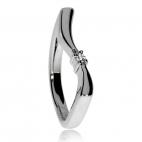 Stříbrný prsten s přírodním diamantem - Ladná linie