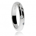 Dámský stříbrný prsten s diamanty - Protilehle vsazené diamanty