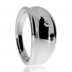 Stříbrný dámský prsten s přírodním diamantem - Oblá linie