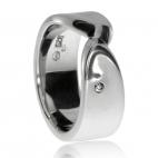 Stříbrný dámský prsten s diamantem - Dotýkající se linie