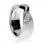 Stříbrný dámský prsten s diamantem - Dvojice spojených matných linií