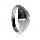 Stříbrný dámský prsten s diamantem - Vypouklý tvar s matnou úpravou